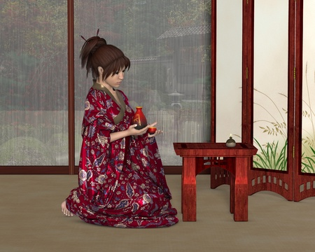 indoor garden: Illustration of a young Japanese woman wearing a red kimono patterned with flowers holding a sake jug and cup, inside her house with rain pouring down outside the windows, 3d digitally rendered illustration