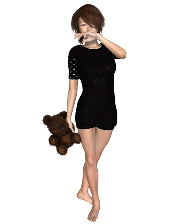 yawning: Illustration of a Japanese girl in pyjamas holding a teddy bear and yawning, 3d digitally rendered illustration Stock Photo