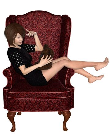 and barefoot: Illustration of a Japanese girl in pyjamas sitting in a wingback armchair and talking to her teddy bear, 3d digitally rendered illustration Stock Photo