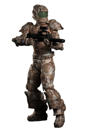 trooper: Illustration of a futuristic sci-fi space marine trooper in brown camouflage, 3d digitally rendered illustration