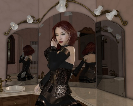 Illustration of a Red haired Goth girl in a gold and lace dress standing with her back to her dressing table mirrors, 3d digitally rendered illustration illustration