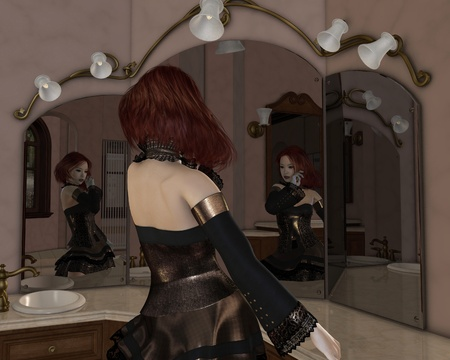 Illustration of a Red haired Goth girl in a gold and lace dress standing in front of her dressing table mirrors, 3d digitally rendered illustration illustration