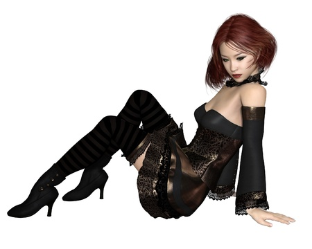 goth girl: Illustration of a Red haired Goth girl in a gold and lace dress and stockings sitting on the floor, 3d digitally rendered illustration