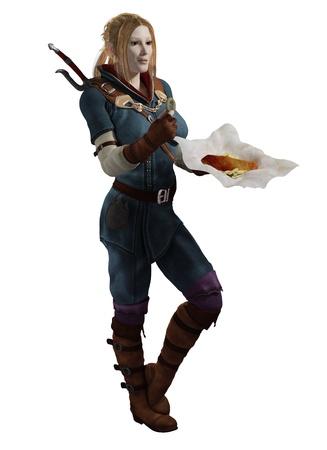 Illustration of a Female fantasy adventurer having a meal break of fish and chips, 3d digitally rendered illustration illustration