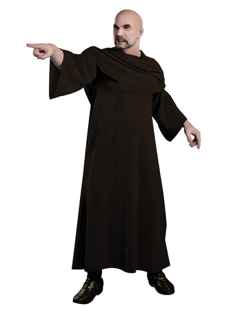 spell: Illustration of a Robed warlock pointing and casting a spell, 3d digitally rendered illustration Stock Photo
