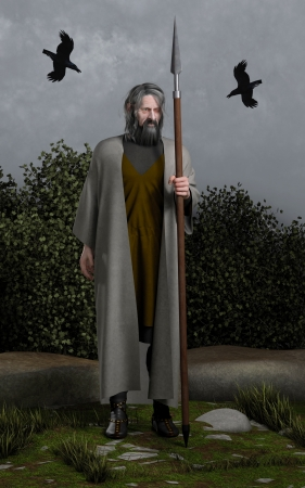 wanderer: Illustration of Odin the Wanderer, Allfather of the Norse Gods with his spear  Gungnir  and the two ravens  Huginn and Muninn, Thought and Memory , 3d digitally rendered illustration
