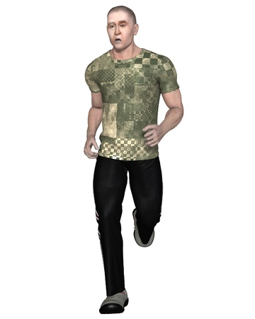 Illustration of a mature man out running and looking tired, 3d digitally rendered illustration