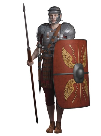 cascos romanos: Ilustración de un soldado legionario del Imperio Romano llevando lorica segmentata, 3d rindió la ilustración digital Foto de archivo