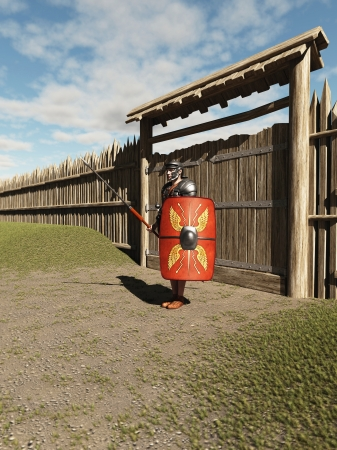 roman empire: Illustration of an Imperial Roman legionary guarding the gate to a fort Stock Photo