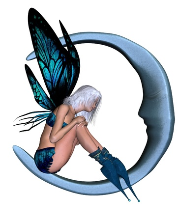 fairy woman: Illustration of a Fairy dressed in blue with butterfly wings sitting on a silver moon, 3d digitally rendered illustration Stock Photo