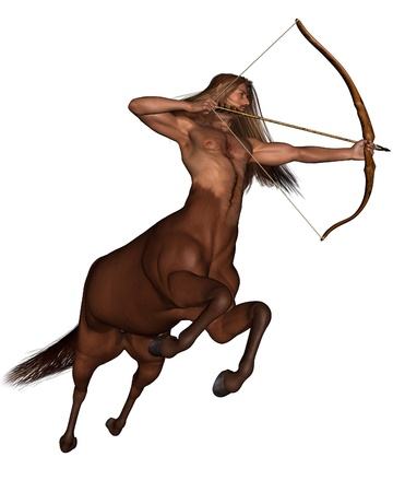 sagittarius: Illustration of Sagittarius the centaur archer representing the ninth sign of the Zodiac - galloping, 3d digitally rendered illustration