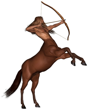 the centaur: Illustration of Sagittarius the centaur archer representing the ninth sign of the Zodiac - rearing, 3d digitally rendered illustration Stock Photo