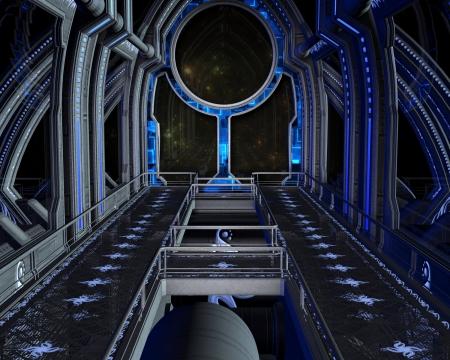 미래의 우주 정거장의 내부의 공상 과학 소설의 장면, 디지털 그림 렌더링 된 3D