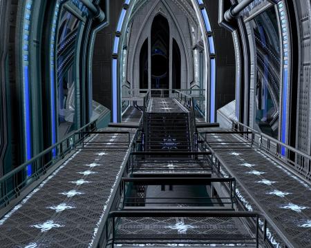 Science fiction scène van de binnenkant van een futuristisch ruimtestation, 3d digitaal teruggegeven illustratie