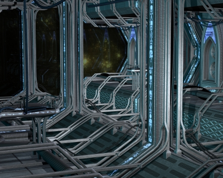 space station: Science fiction scene of the inside of a futuristic space station, 3d digitally rendered illustration Stock Photo