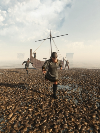 raid: Illustration of Viking warriors raiding the coast from their beached longship, 3d digitally rendered illustration