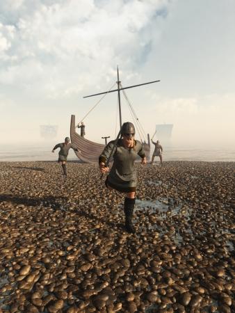 viking ship: Illustration of Viking warriors raiding the coast from their beached longship, 3d digitally rendered illustration