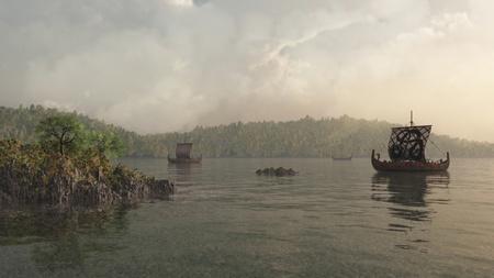 Illustratie van Viking longships in een mistige Deense kust inlaat, 3d digitaal teruggegeven illustratie