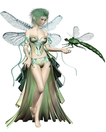 fairy woman: Illustration of a fairy with green hair and dress and dragonfly wings with a green dragonfly landing on her hand, 3d digitally rendered illustration