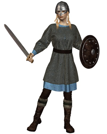 Illustration of a Viking or Anglo-Saxon Shield Maiden with chain mail armour, sword, shield and helmet, 3d digitally rendered illustration illustration