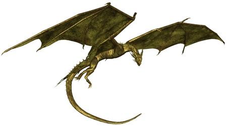 Vliegende draak met groene metalen schalen, 3d digitaal teruggegeven illustratie Stockfoto