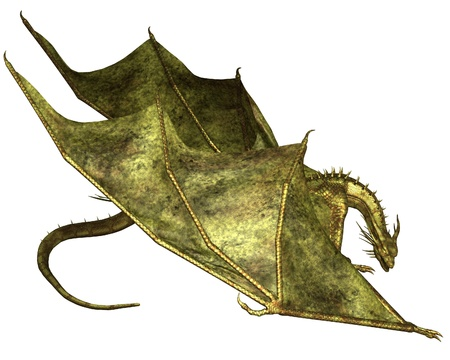 wingspan: Crawling dragon with green metallic scales, 3d digitally rendered illustration