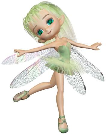 귀여운 툰 발레리나 요정 잠자리 날개 녹색 발레 용 스커트를 입고, 디지털 렌더링 된 3D 그림