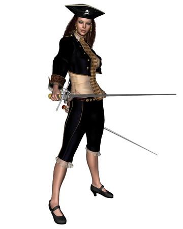 mujer pirata: Ilustración de un bucanero femenino o pirata llevando espadas gemelas, 3d rindió la ilustración digital