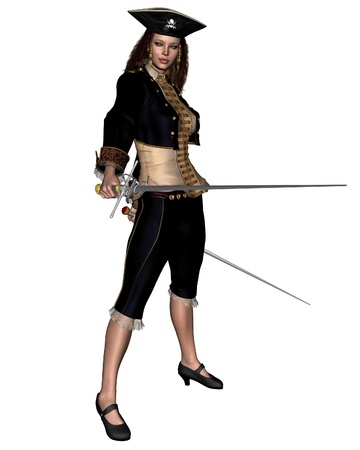 mujer pirata: Ilustraci�n de un bucanero femenino o pirata llevando espadas gemelas, 3d rindi� la ilustraci�n digital