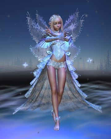 fey: Illustration of a Winter fairy sparkling with frost against a snowy background, 3d digitally rendered illustration Stock Photo