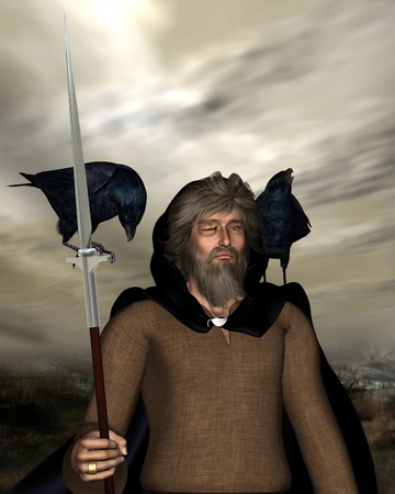 woden: Portrait illustration of Odin the one-eyed chief god in Norse mythology with his spear
