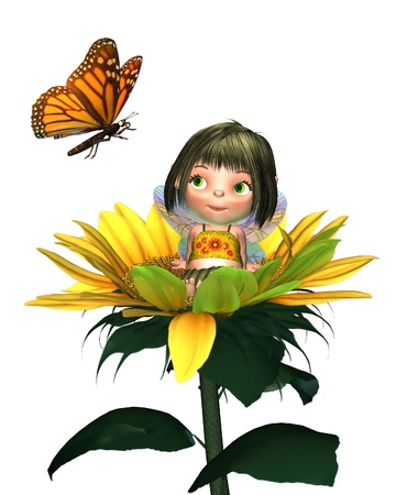 Cute toon baby fairy sitting in a sunflower and looking at a monarch butterfly, 3d digitally rendered illustration Stock Photo