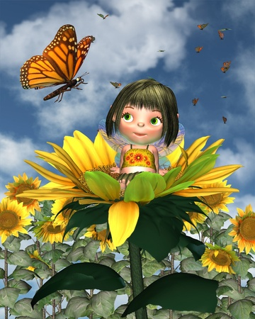 fairy cartoon: Cute toon baby fairy sitting in a sunflower and looking at a monarch butterfly with a sunny summer background, 3d digitally rendered illustration