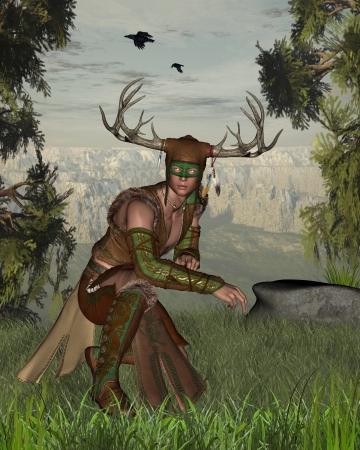 охотник: Иллюстрация Рогатого леса бога природы на краю леса, 3D цифровой оказанные иллюстрации