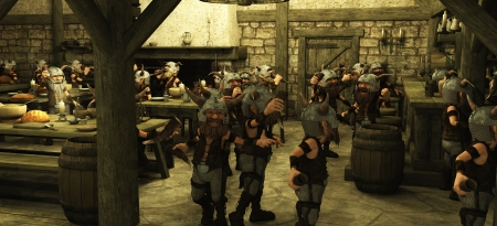 taverns: Toon Viking Dwarf Horde drinking in a fantasy medieval style tavern, 3d digitally rendered illustration