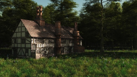 timbered: Illustration of a deserted half-timbered traditional English late medieval or Tudor manor house, 3d digitally rendered illustration Stock Photo