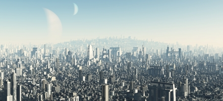 Illustration of the view across a futuristic sci-fi city, 3d digitally rendered illustration Foto de archivo