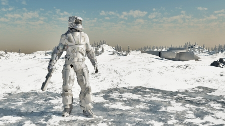 man with gun: Illustration of a Space Marine and dropship on a frozen ice planet, 3d digitally rendered illustration