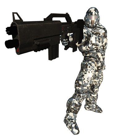 scifi: Illustration of a Space marine in winter camouflage suit with very big gun, 3d digitally rendered illustration