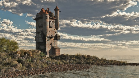 fantasy castle: Illustration of a fantasy Medieval style tower castle by the lake, 3d digitally rendered illustration Stock Photo