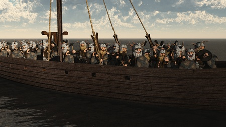Illustration of a horde of Toon Viking Dwarfs on their longship, 3d digitally rendered illustration illustration