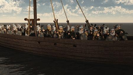 dwarfs: Illustration of a horde of Toon Viking Dwarfs on their longship, 3d digitally rendered illustration