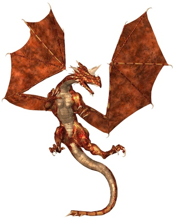wingspan: Horned dragon with red metallic scales sleeping, 3d digitally rendered illustration Stock Photo