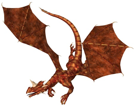 swooping: Horned dragon with red metallic scales swooping to attack, 3d digitally rendered illustration