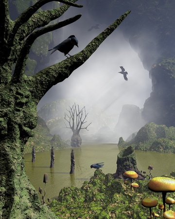 Misty haunted swamp with rotting twisted trees with screaming faces covered in moss and fungus, surounded by towering cliffs, 3d digitally rendered illustration Stock Illustration - 22461400