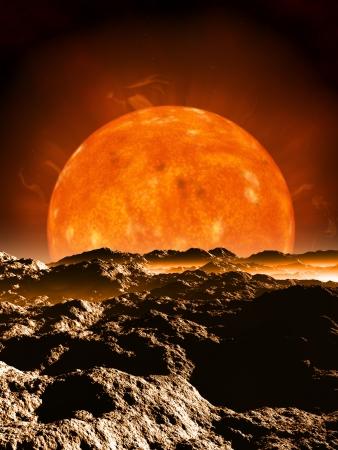 alien world: Dying red giant sun setting over the horizon of an alien desert planet, 3d digitally rendered illustration