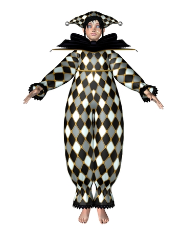 harlequin: Illustration of a Pierrot-style clown doll dressed in a diamond pattern Harlequin suit with bow, 3d digitally rendered illustration Stock Photo