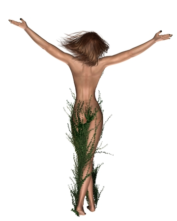 arms raised: Illustration of a Dryad or tree nymph from Greek mythology with her legs covered by ivy, 3d digitally rendered illustration