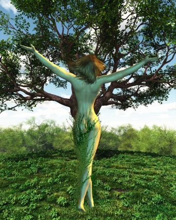nymph: Illustration of a Dryad or Tree Nymph with her tree, 3d digitally rendered illustration