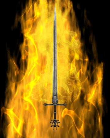 Fantasy or Medieval sword surrounded by yellow flames on a black background, 3d digitally rendered illustration